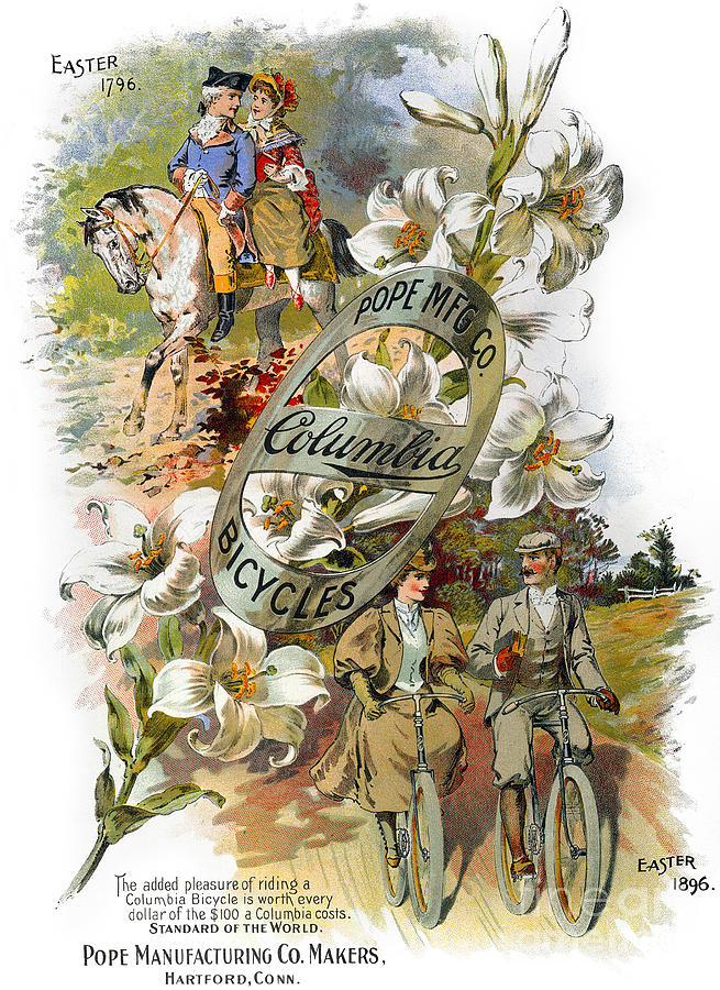 1896 Photograph - Columbia Bicycles Poster by Granger