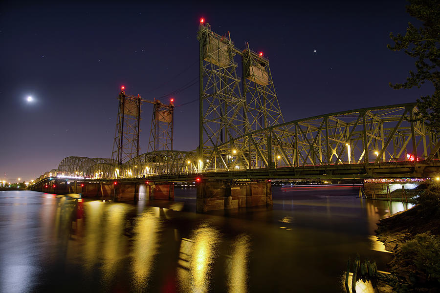 I-5 Photograph - Columbia Crossing I-5 Interstate Bridge At Night by David Gn