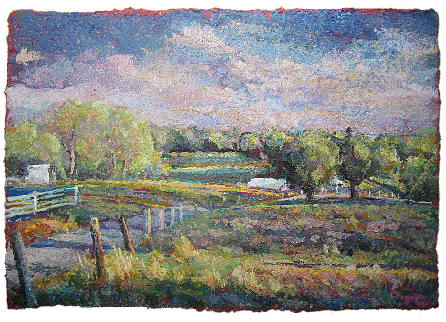 Rural Landscape Painting - Columbia Farm 2 by Stephen  Gatter