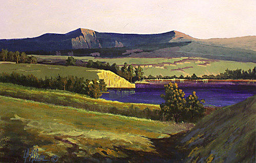 Landscape Painting - Columbia Gorge by Dalas Klein