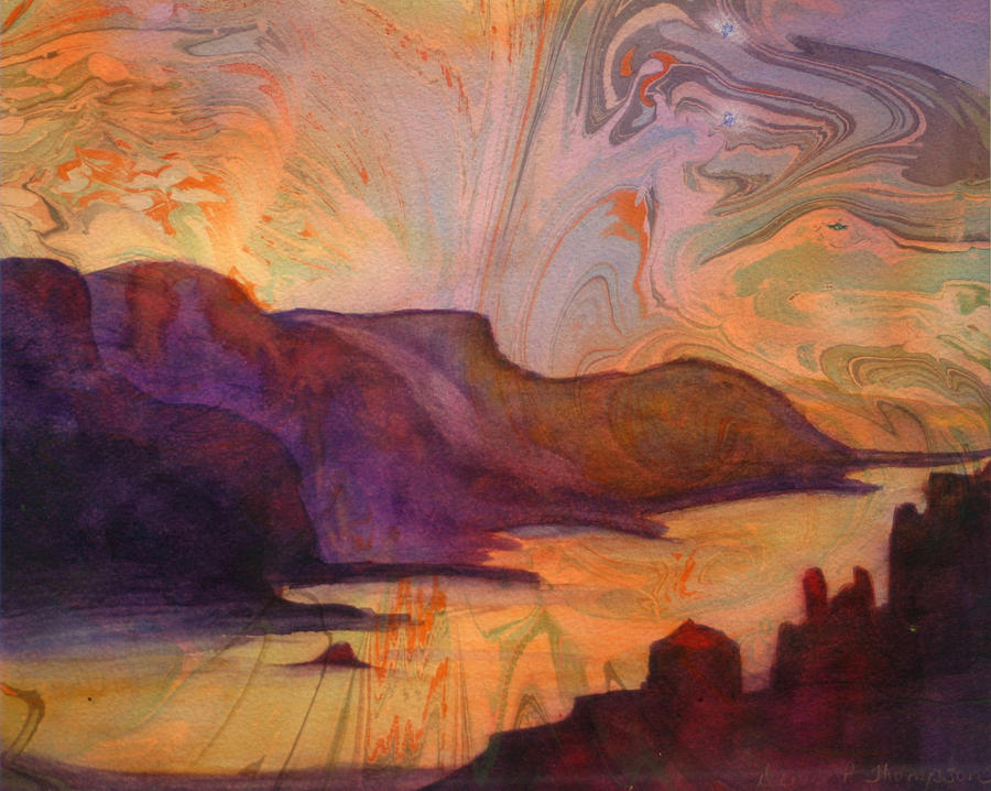 Oregon Painting - Columbia Gorge On Marbled Paper by Denice Palanuk Wilson