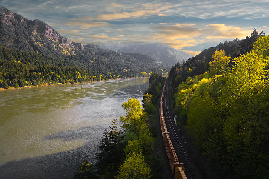 Columbia Gorge River Photograph - Columbia Gorge Train by David Lutz