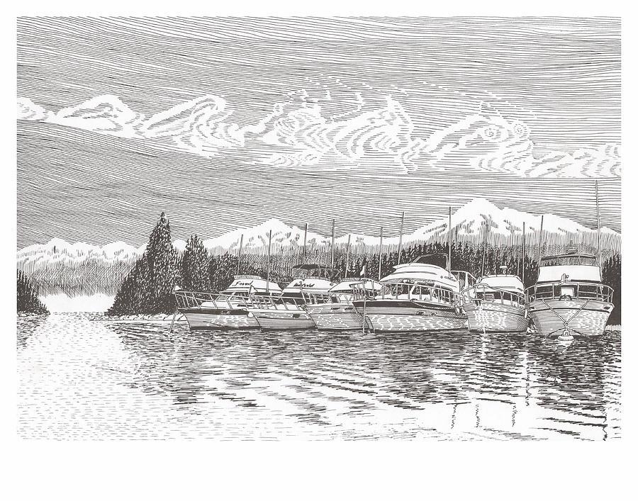 Columbia River Raft Up Drawing by Jack Pumphrey