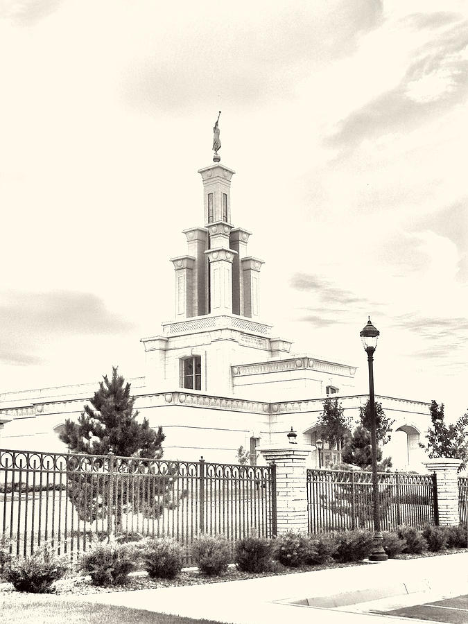 Lds Photograph - Columbia River Temple Sketch by Misty Alger