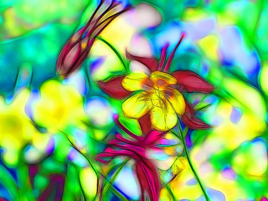 Flora Digital Art - Columbines - 3 by Jean-Marc Lacombe