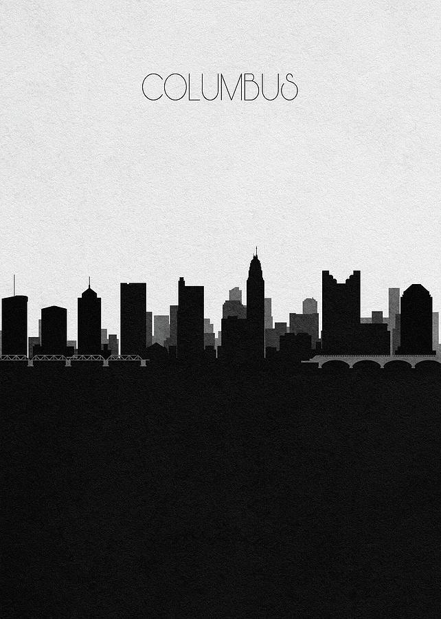 Columbus Digital Art - Columbus Cityscape Art by Inspirowl Design