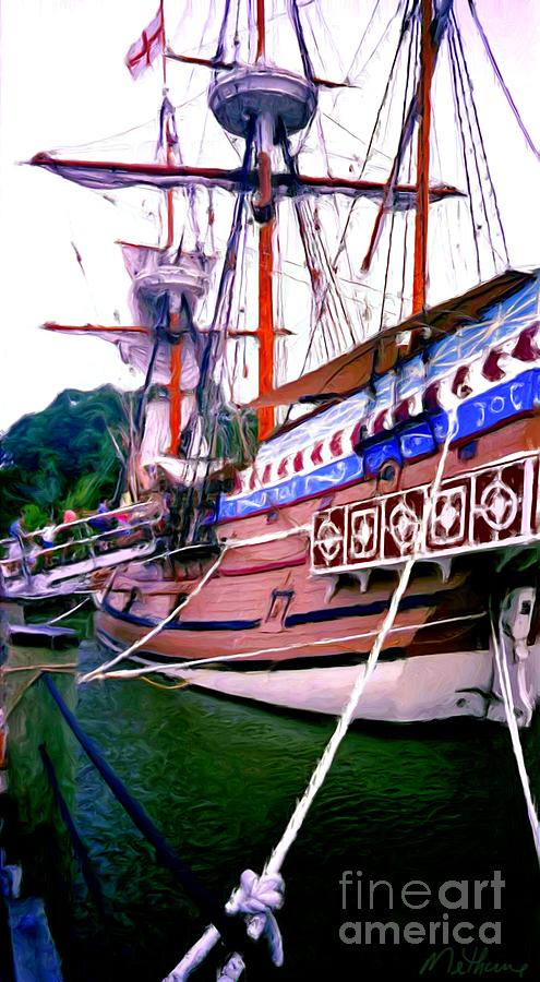 Ship Painting - Columbus Day Celebration by Methune Hively