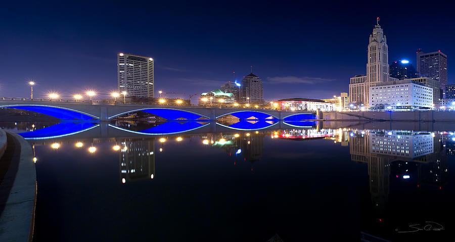 Columbus Photograph - Columbus Oh Blue Bridge Reflections by Shane Psaltis