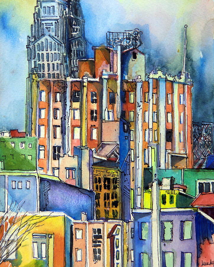 Painting Company Columbus Ohio: Columbus Ohio City Lights Painting By Mindy Newman