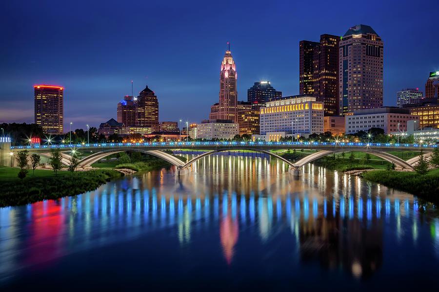 Columbus Ohio Skyline at Night by Adam Romanowicz