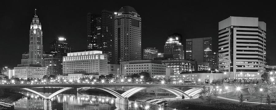 Poster Panorama Columbus Ohio Skyline Black and White Panoramic Fine Art Print