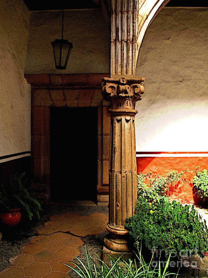 Patzcuaro Photograph - Column In The Corridor by Mexicolors Art Photography