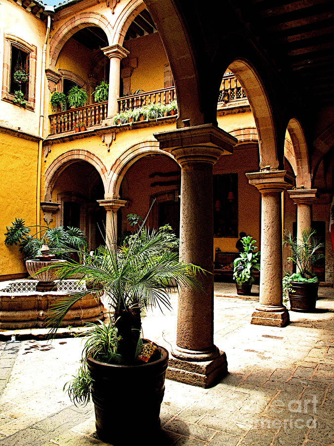 Michael Fitzpatrick Photograph - Columns And Courtyard by Mexicolors Art Photography