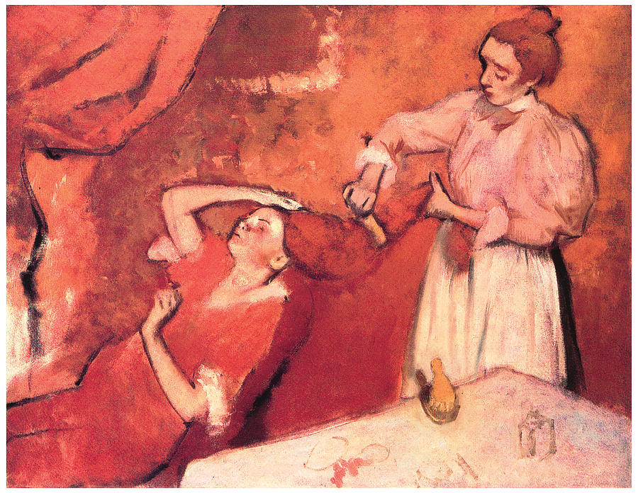 combing the hair painting by edgar degas