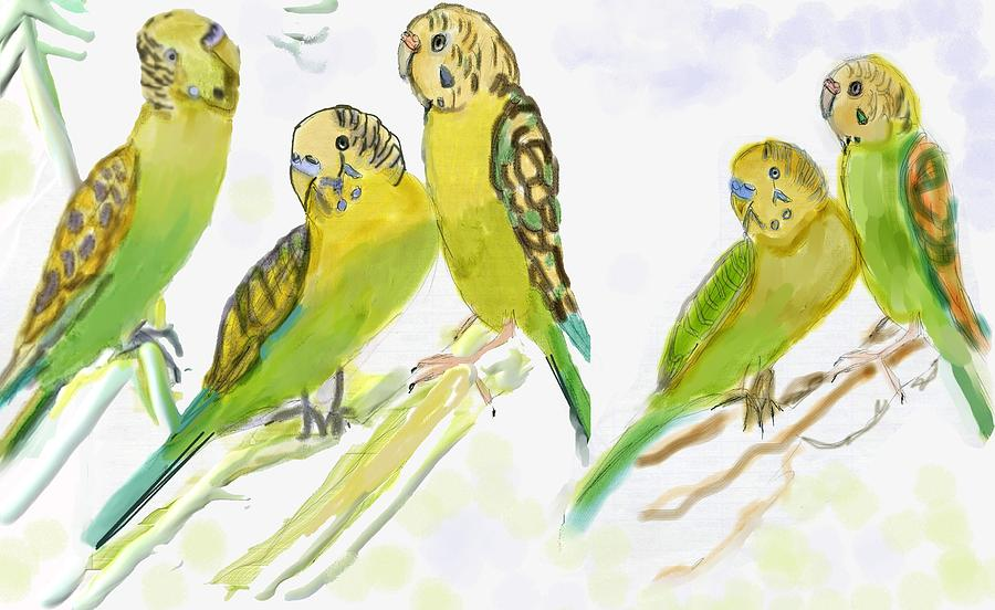 Parakeets Digital Art - Come Fly With Me by Anna Angelou
