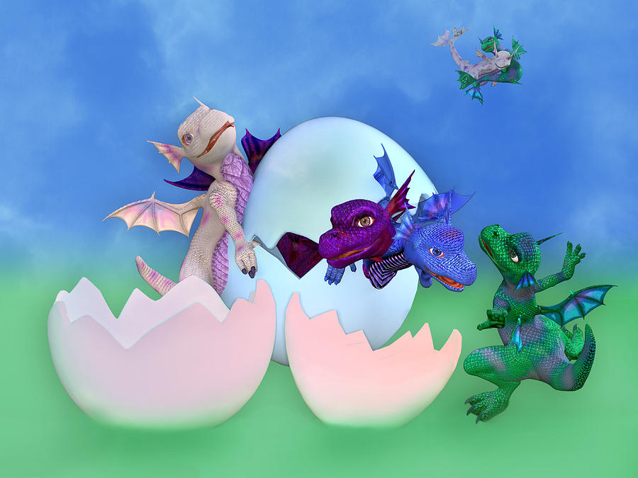 Dragon Digital Art - Come Out And Play by Betsy Knapp