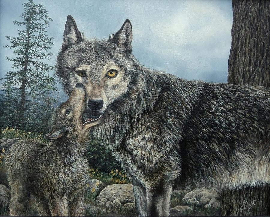 Wolf Eyes Painting - Come Play With Me by Sherri Menozzi