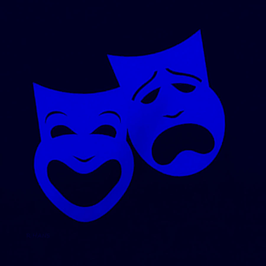 Comedy And Tragedy Photograph - Comedy N Tragedy Black Blue by Rob Hans