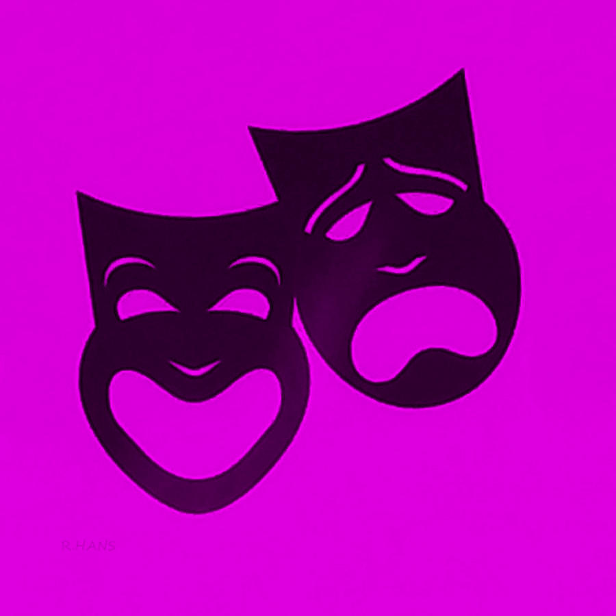 Comedy And Tragedy Photograph - Comedy N Tragedy Purple by Rob Hans