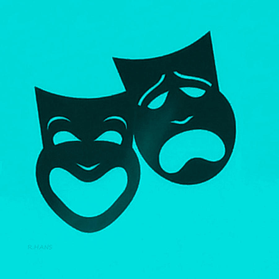 Comedy And Tragedy Photograph - Comedy N Tragedy Turquoise by Rob Hans