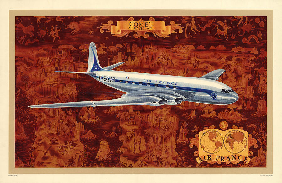 Comet - Di Havilland - Illustrated Poster Of The Air France Aircraft - Vintage Poster Mixed Media