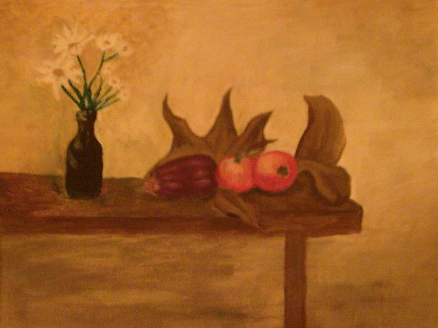 Still Life Of Vase Of Flowers With Eggplant  Painting - Comfort by Helen Vanterpool