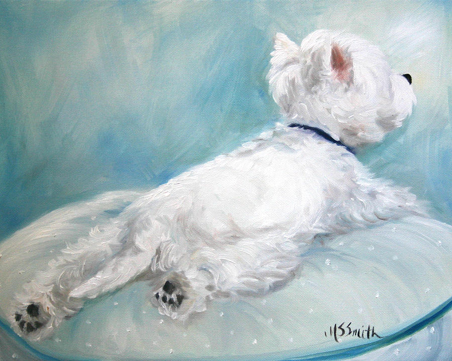 Westie Painting - Comfort Zone by Mary Sparrow
