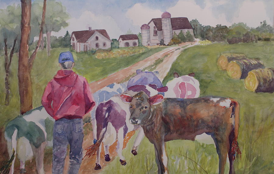 Cows Painting - Coming Home by Nancy Henkel Schulte