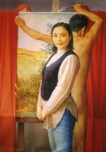 Woman And Man Painting - Coming Into Painting by Xiaojian Yang