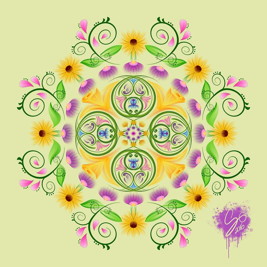 Mandala Digital Art - Coming Of Spring by Lisa Schwaberow