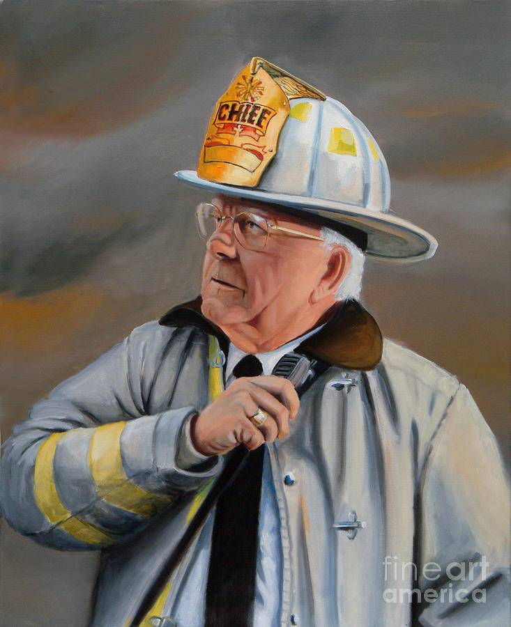 Fire Chief Painting - Command by Paul Walsh