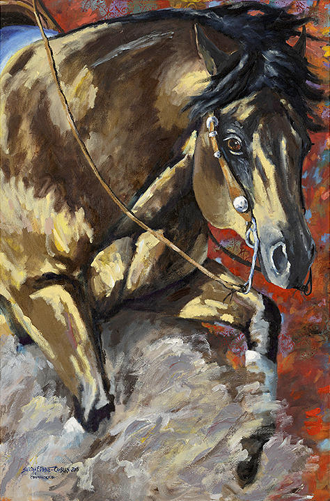 Reining Horse Painting - Commandalena by Sarrah Dibble-Camburn