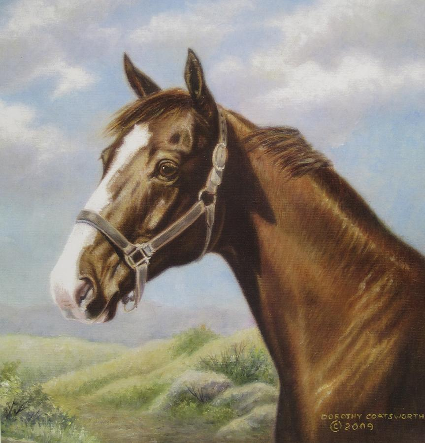 Commission Chestnut Horse Painting by Dorothy Coatsworth