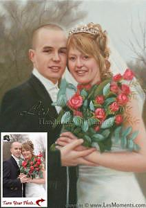 Oil Portrait Painting - Commission Wedding Oil Painting Based On Your Photo by Les Moments