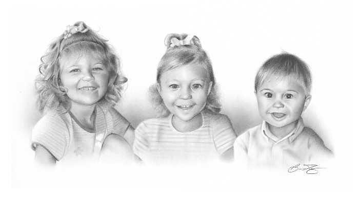 Children Drawing - Commissioned Portrait by Brian Duey