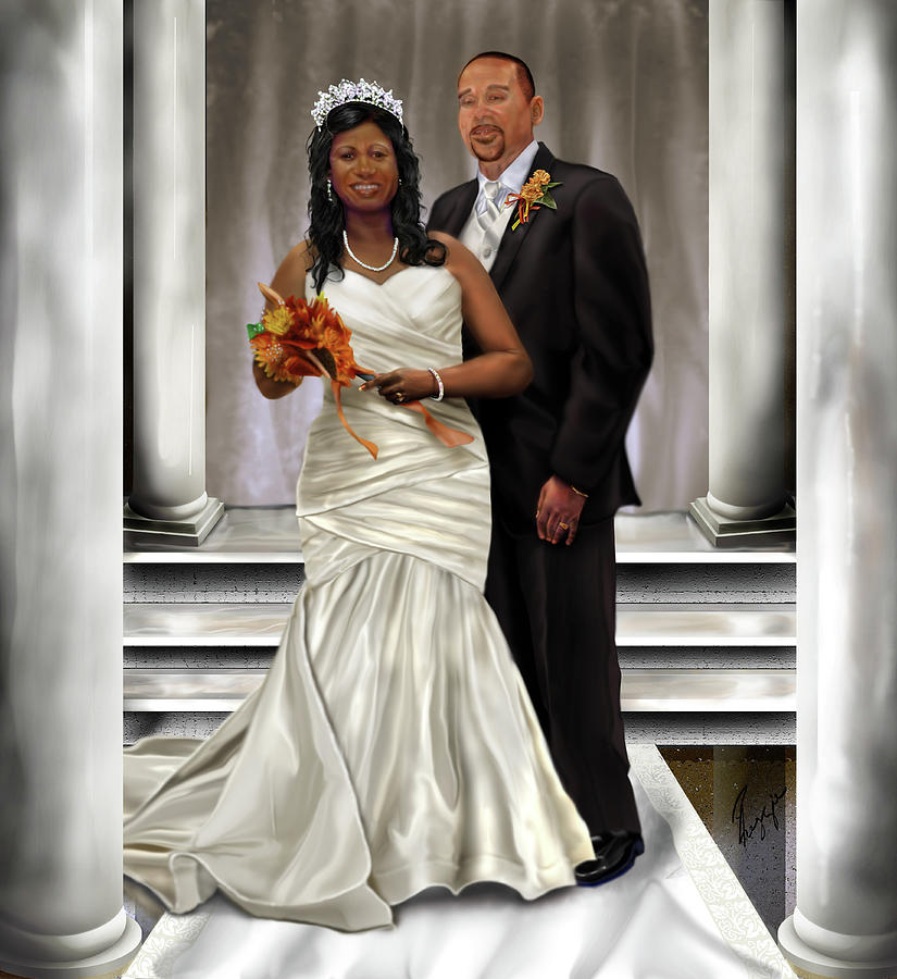 Wedding Painting - Commissioned Wedding Portrait  by Reggie Duffie