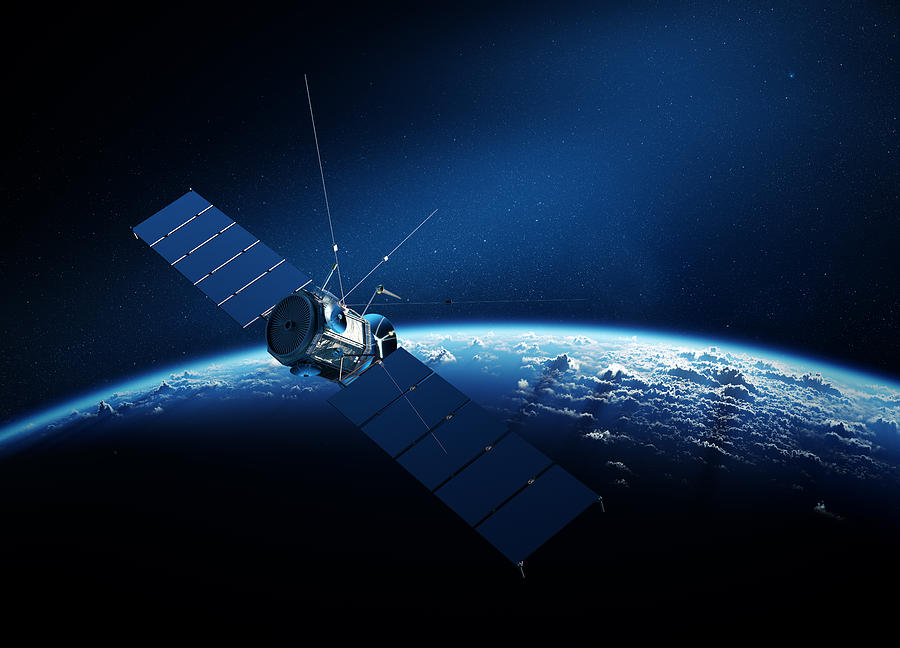 Communications Satellite Orbiting Earth Digital Art