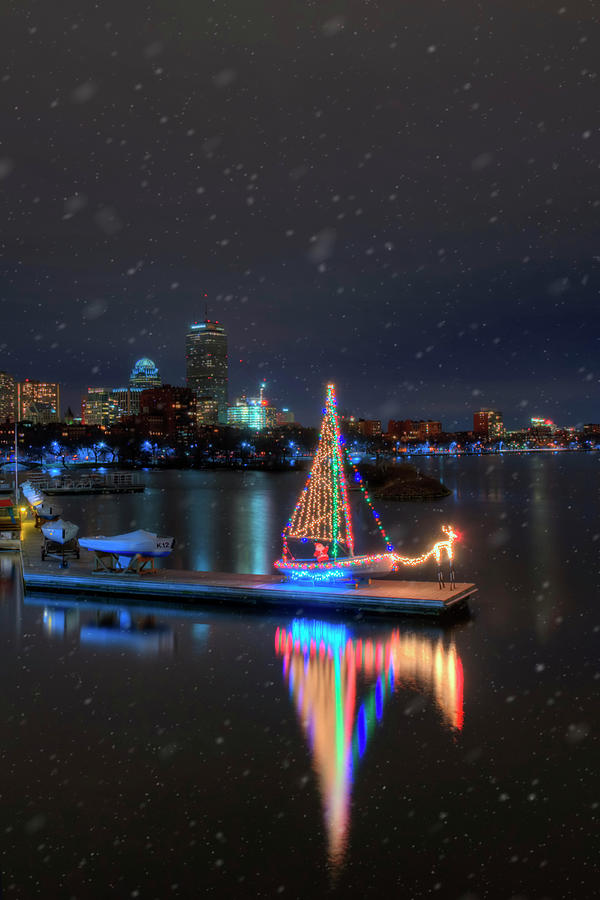 Community Boating Christmas Boat - Boston by Joann Vitali