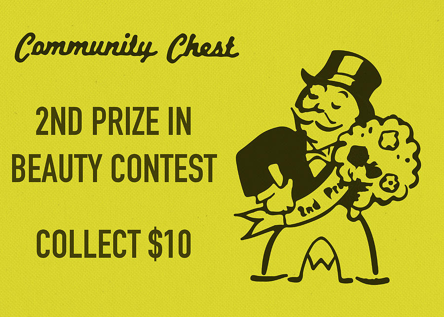 Community Chest Mixed Media - Community Chest Vintage Monopoly Board Game 2nd Prize In Beauty Contest by Design Turnpike