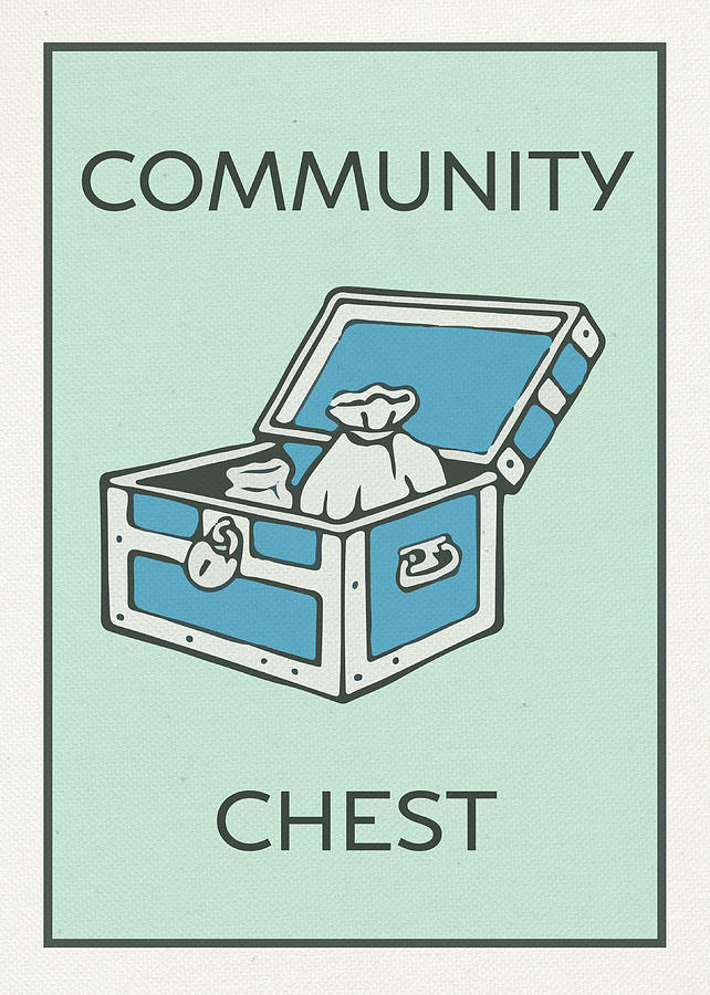 Community Chest Mixed Media - Community Chest Vintage Monopoly Board Game Theme Card by Design Turnpike