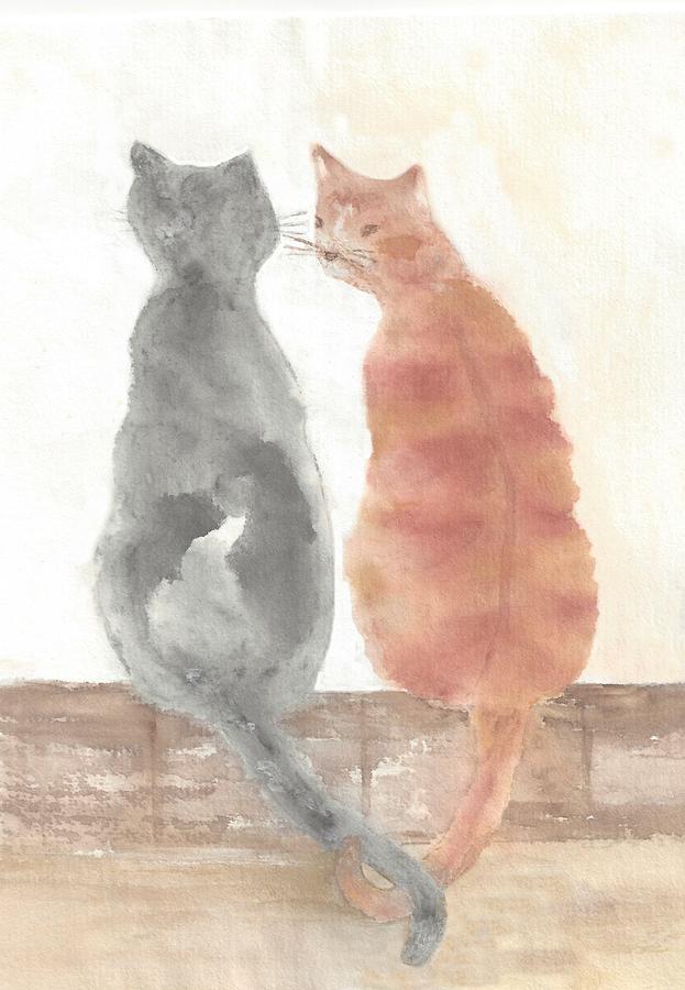 Cat Painting - Companion Cats by Terri Harris