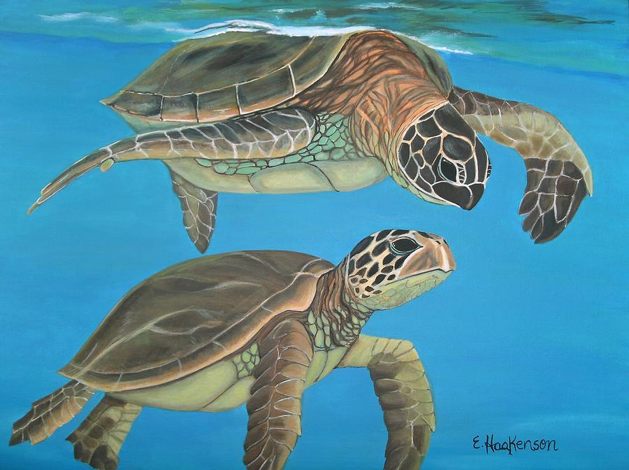 Sea Turtles Painting - Companions Of The Sea by Elaine Haakenson