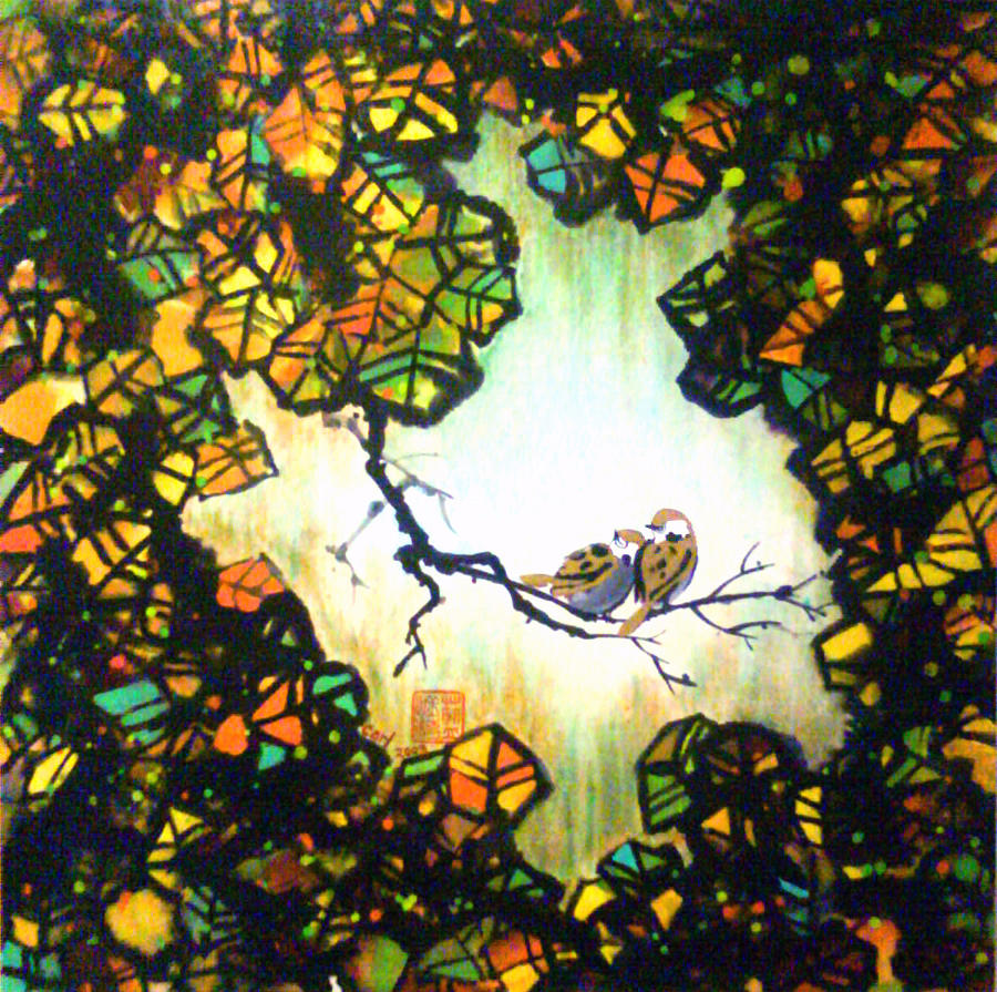 Companionship No. 2 - Autumn Leaves Painting by Carl Jeremy Lum