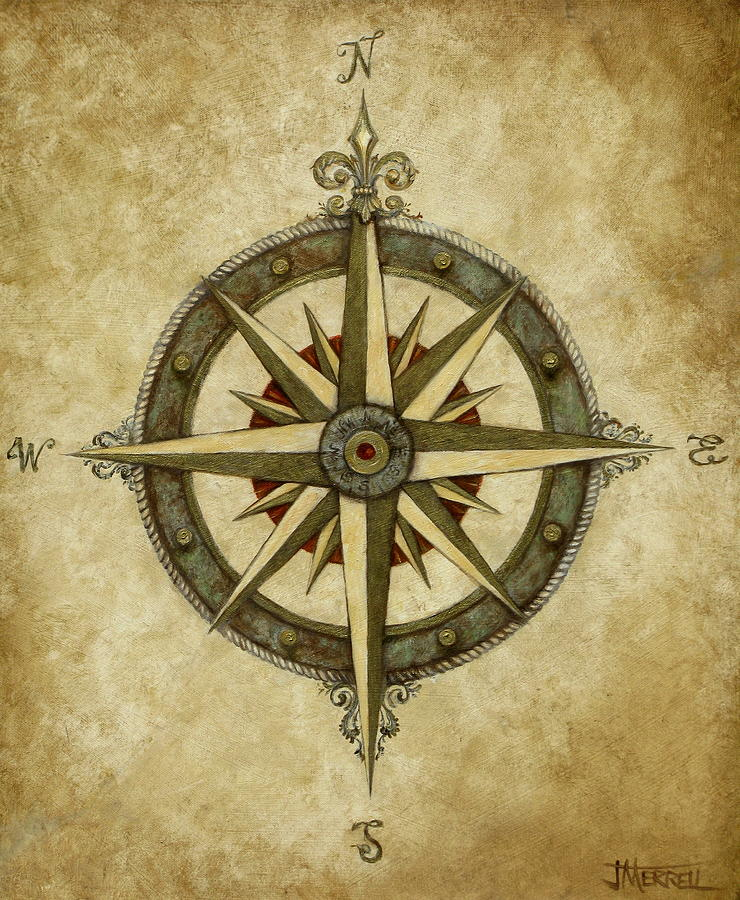 Compass Painting - Compass Rose by Judy Merrell