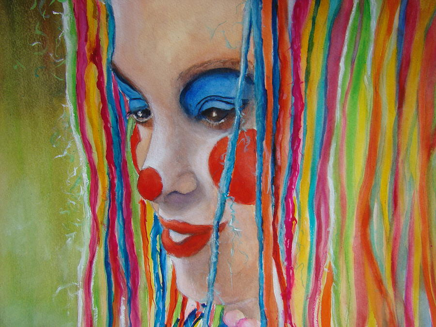 Clowns Painting - Complementary by Myra Evans