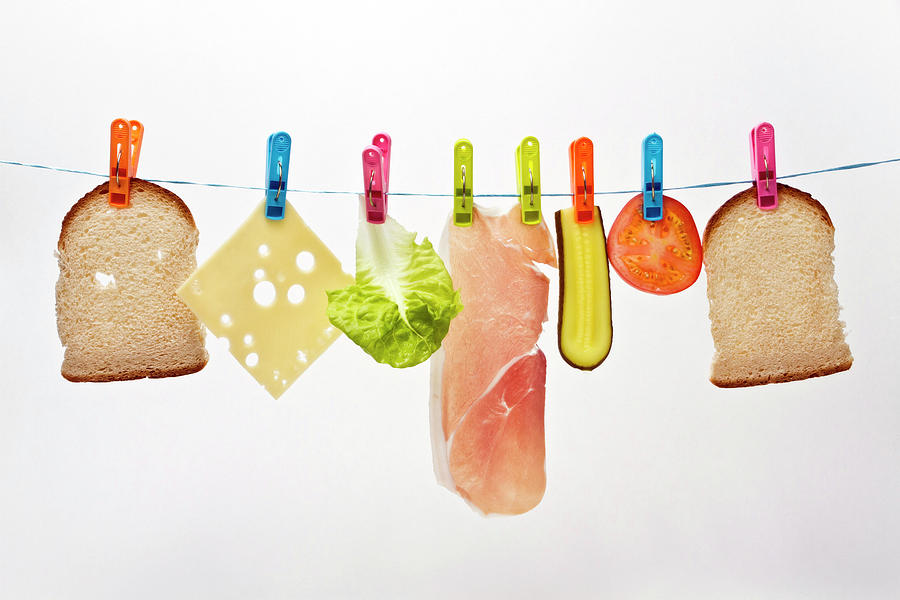 Horizontal Photograph - Components Of Sandwich Pegged To Washing Line by Image by Catherine MacBride