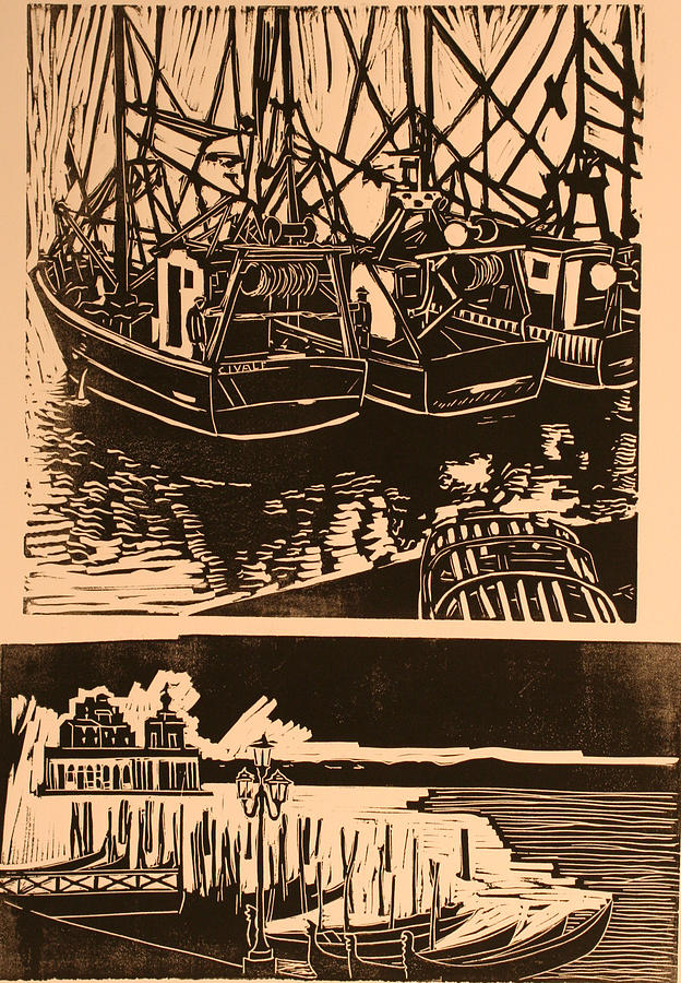 Composite Of Two Woodcuts Print by Biagio Civale
