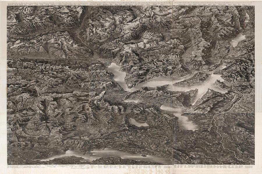 Composite Relief Map Of Zurich - Birds Eye View Map Of Zurich - Historical Map - Zurich, Switzerland Drawing