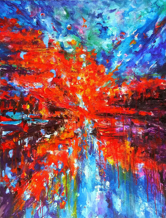 Contemporary Impressionism Painting - Composition # 2. Series Abstract Sunsets by Helen Kagan