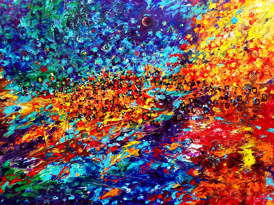 Contemporary Impressionism Painting - Composition # 5. Series Abstract Sunsets by Helen Kagan